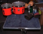 PERCUSSION TABLE with LUDWIG TIMBALES, COWBELLS AND WOOD BLOCKS.