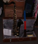 BENTLEY TENOR SAXOPHONE OUTFIT. VERY COOL BLACK AND GOLD FINISH. VGC.