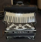 VINTAGE SCANDALLI 'SCOTT WOOD FOUR' PIANO ACCORDION with CASE. 1930's. ITALY.