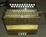 VINTAGE HOHNER 'POKERWORK' D/G MELODEON with CASE. GERMANY.